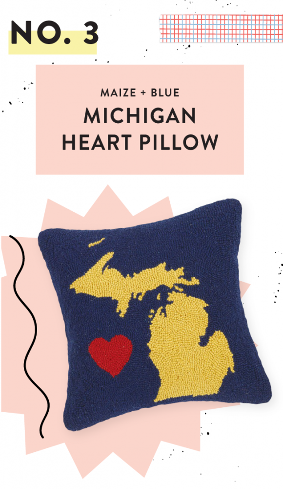 YELLOW & NAVY MICHIGAN HEART PILLOW