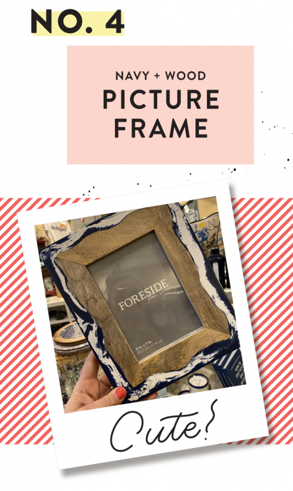 NAVY & WOOD 5X7 PICTURE FRAME